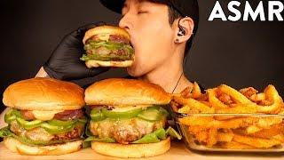 ASMR JALAPENO CHEESEBURGER &amp CAJUN FRIES MUKBANG (No Talking) COOKING &amp EATING SOUNDS