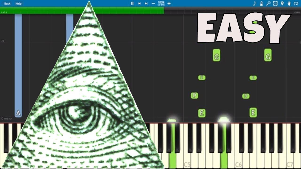 Illuminati Song - EASY Piano Tutorial - X Files Theme