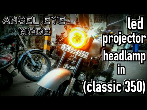 Royal Enfield bullet | classic 350 | DRL angel eye projector headlamp.