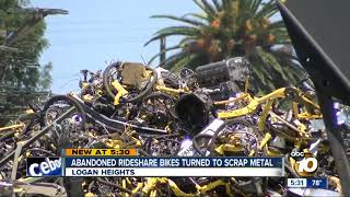 Abandoned rideshare bikes turned to scrap metal