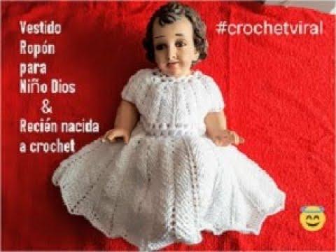 Vestido Ropon Para Niño Dios A Crochet Punto Espiga O Trigo A Crochet