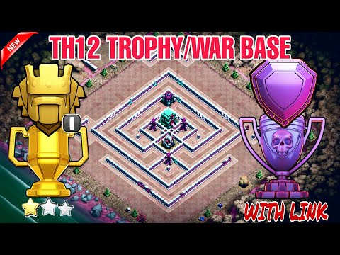 TH12 BEST TROPHY/WAR BASE 2019 WITH REPLAYS & LINK | TH12