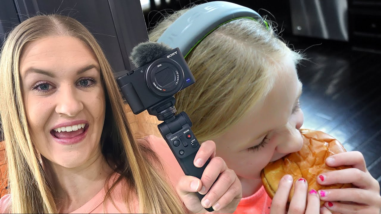 Mom's New Vlog Camera & Trinity's 1st Cheeseburger!!!