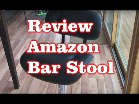 Walnut Bentwood Adjustable Height Bar Stool with Button Tufted Black Vinyl