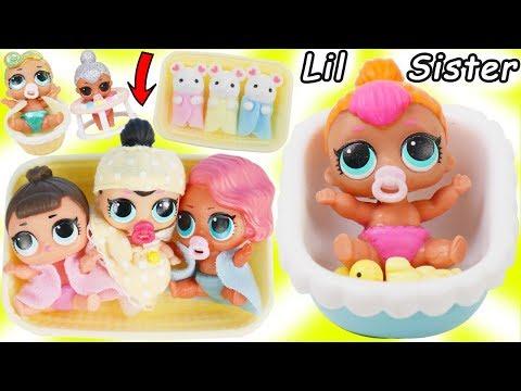 LOL Surprise Dolls + Lil Sisters Babysat New Pearl Doll and gets Baby Nursery Bathroom!
