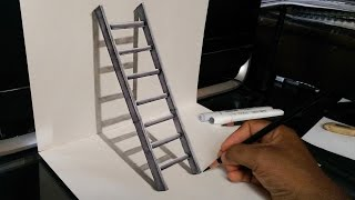 Very Easy! How to Draw a 3D Stairs - 3D trick Art
