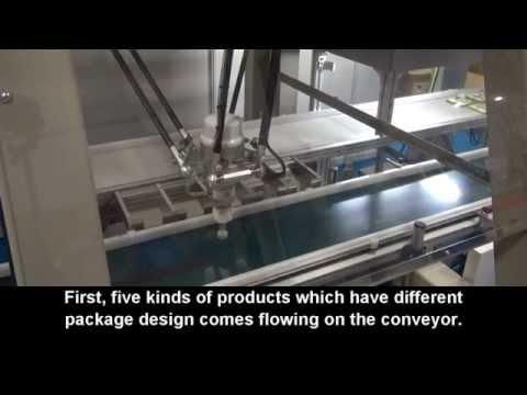 【安川電機�東京国際包装展:MOTOMAN-MPP3Sによる多品種混載コンベアからの箱詰め作業