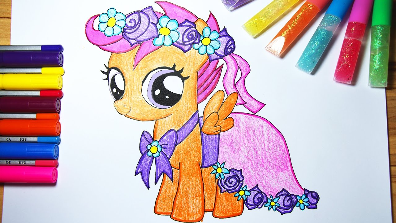 my little pony coloring book mlp scootaloo smoozitv youtube