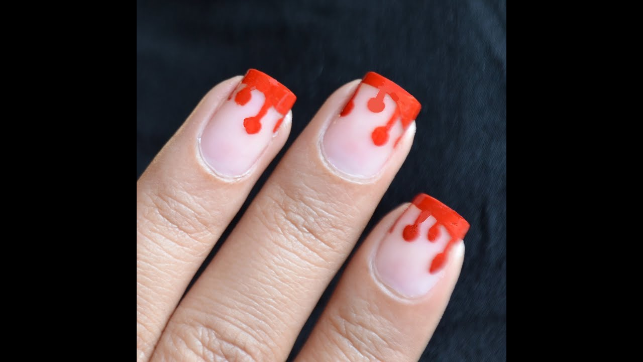 Kids - Dripping Blood Nails - Halloween Nail art Easy ...