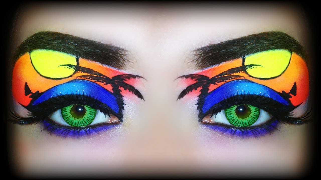 summer 2014 makeup tutorial tropical sunset exotic neon