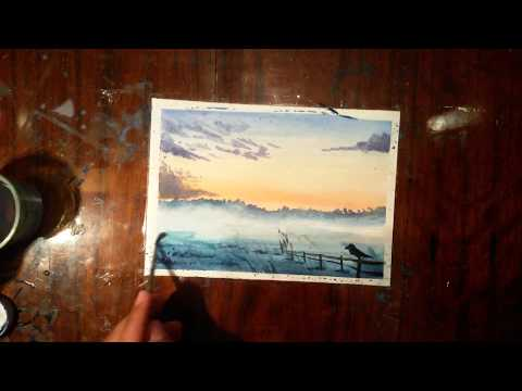 Watercolor Painting foggy sunset landscape| let's draw something