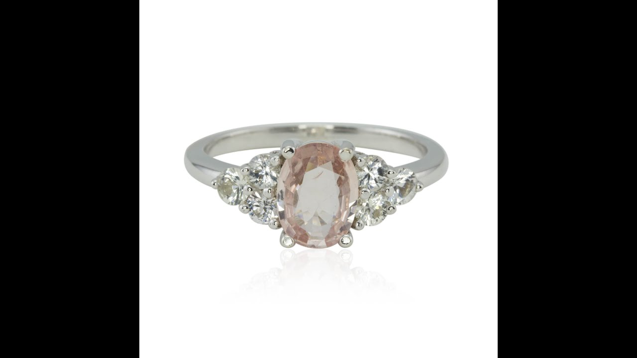 youtube with halo rings prongs watch engagement light and pink morganite stone ring side studded diamond