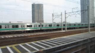 北陸新幹線の車内から埼京線を見る