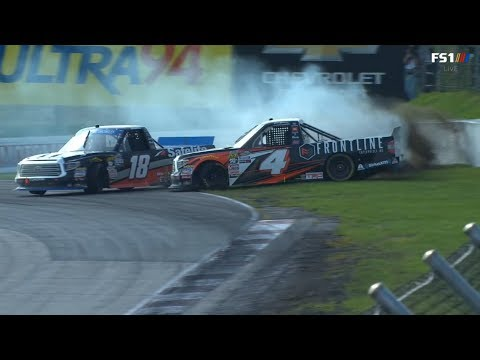 NASCAR Camping World Truck Series 2018. Canadian Tire Motorsport Park. Overtime Battle for Win