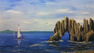 Как нарисовать морской пейзаж [Гуашь](Как нарисовать морской пейзаж гуашью? Смотрите в этом видео с пошаговым объяснением! ;) Как покрыть картину..., 2015-04-20T18:43:23.000Z)