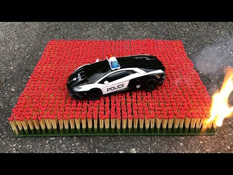 EXPERIMENT: 10 000 MATCHES VS POLICE TOY CAR