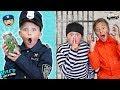🚓 Kid Cop VS Robbers Hide and Seek with Real MONEY!