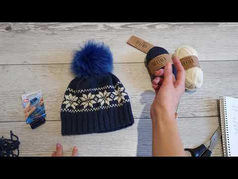 Жаккардовые узоры спицами шапки