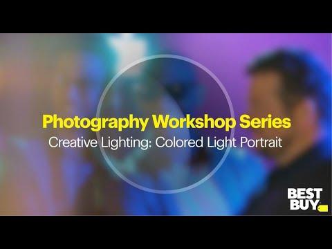 creative lighting colored light portrait