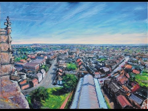 Oils - Panoramic view from Louth Church in Lincolnshire.