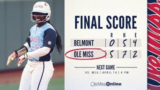 HIGHLIGHTS|Ole Miss Softball defeats Belmont 5-0 (4-11-2018) #FinsUp #WAOM