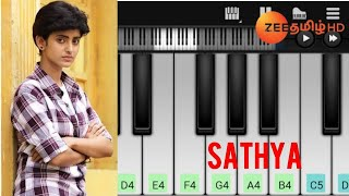 Sathya | Love Theme | Zee Tamil Serial | Easy Piano Tutorial | Perfect piano