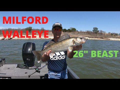 Milford Walleye With A Surprise Wind Storm Kansas Fishing
