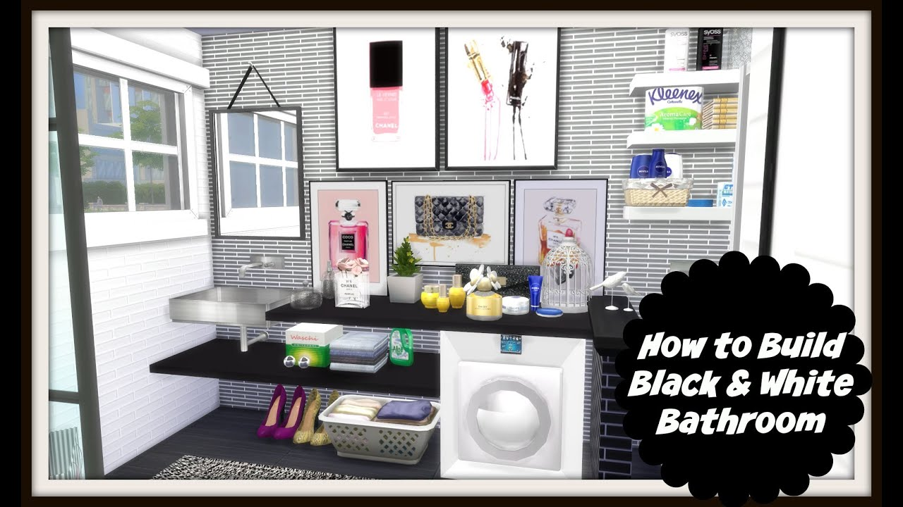 Sims 4 how to bluid a black white bathroom speed for Bathroom ideas sims 4