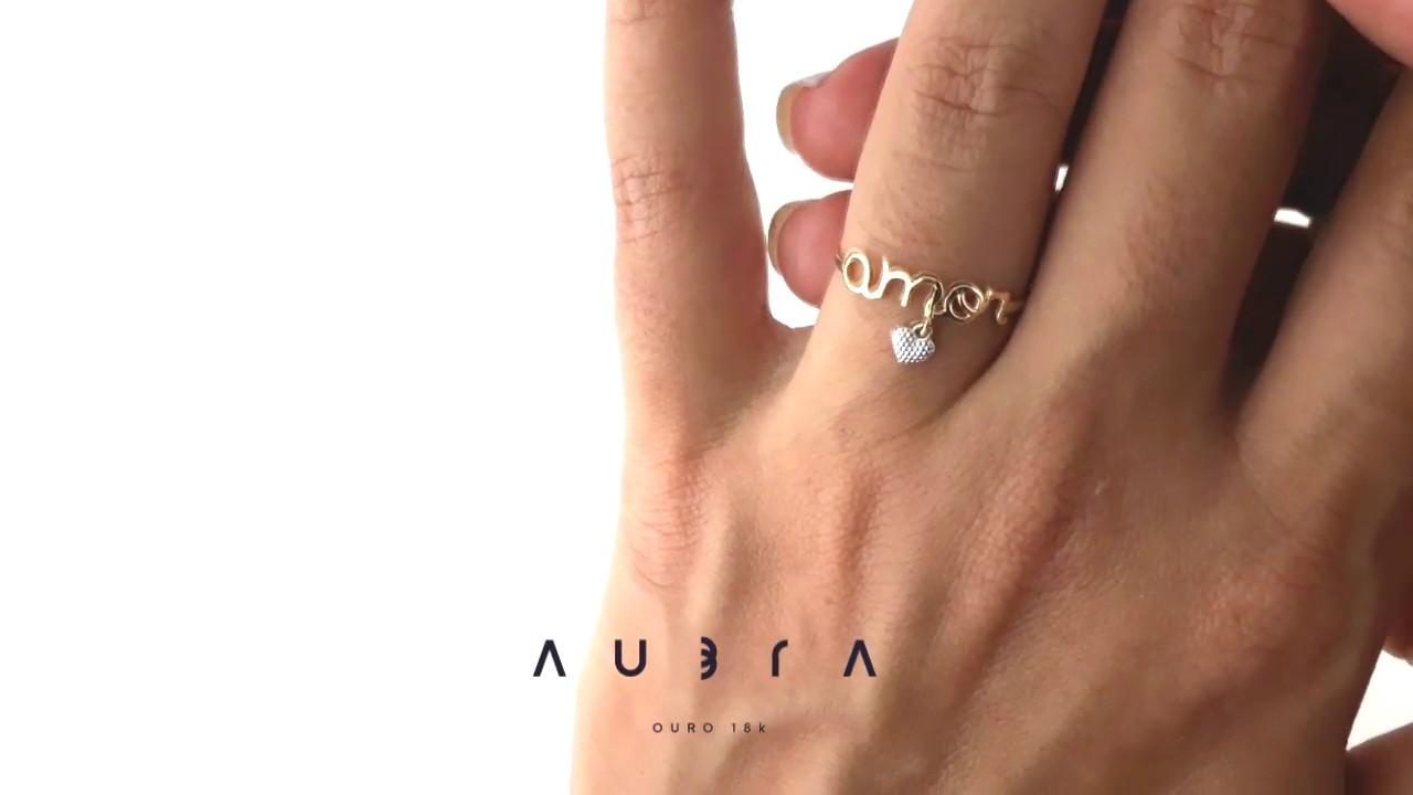 e0d79b8fc26 Anel de ouro 18k escrito amor pingente coração Aubra Joias - YouTube