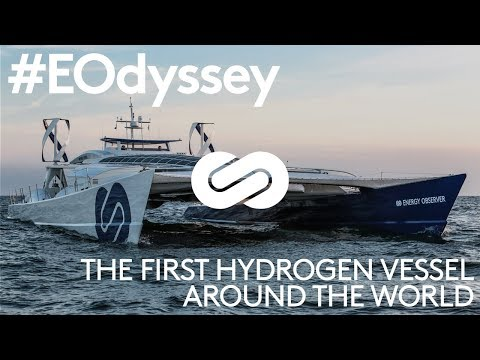 sun, wind + hydrogen to power energy observer boat