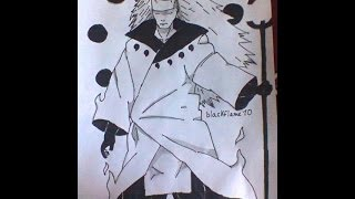 How to draw Madara Uchiha ten tails jinchuuriki juubi