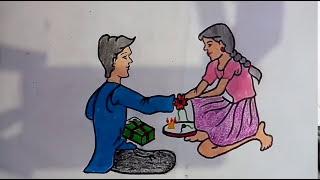 Memory drawing of brother and sister l Raksha bandhan.
