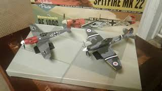 Hawk model 1/72 scale spitfire and BF 109