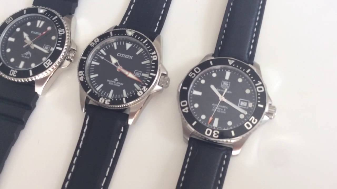 Dive watch comparison casio citizen tag heuer youtube for Tag heuer divers watch