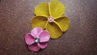 how to make foam sheet flowers at very low cost,How to make flower/Foam Sheet Craft / glitter