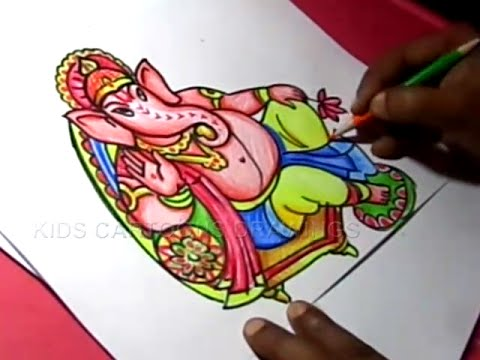 How To Draw Lord Ganesha Drawing For Kids Step By Step Youtube
