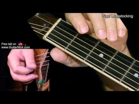 PIPPI LONGSTOCKING: Easy Guitar Lesson + TAB by GuitarNick
