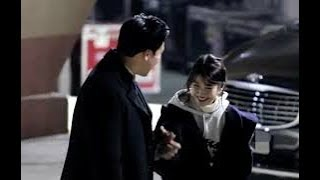 iu cute with her giant bodyguard