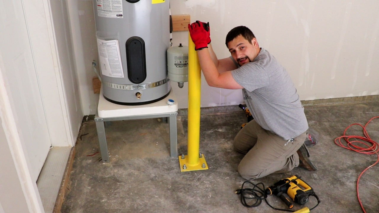 Installing Protective Bollard For Water Heater Youtube