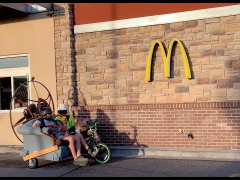 Going to Mcdonalds on an air powered couch