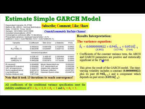 (EViews10): How To Estimate Standard GARCH Models #garch #arch #volatility #clustering #archlm