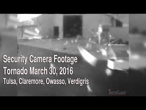 Security Camera Footage of Tornado near Owasso/Claremore, OK on March 30, 2016