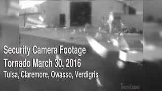 Security Camera Footage of Tornado near Owasso/Claremore, OK on March 30, 2016