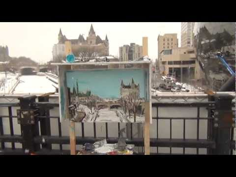 Abstract Expressionist Landscape Oil Painting. The Canal – Day 21