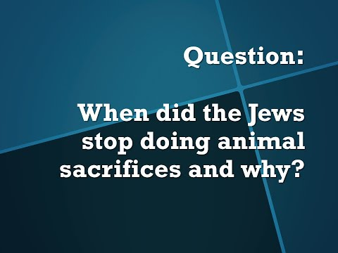 SQSA Live Series: When Did The Jews Stop Doing Animal Sacrifices And Why?