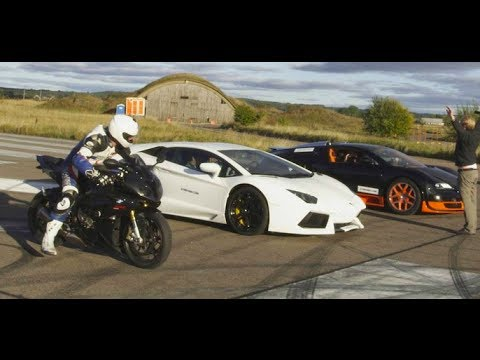 ultra hd 4k drag race bugatti veyron vitesse vs lambo aventador vs bmw s1000rr presented by samsung