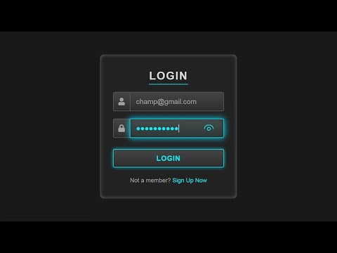 Login Page Using HTML And CSS || Glowing Effect With CSS ||   2020
