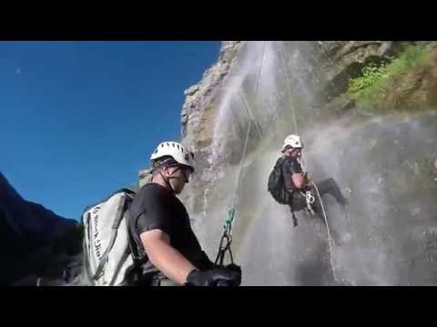 Simul-Rappel At Bridal Veil Falls, UT