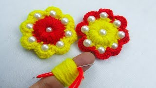Hand Embroidery, Amazing Trick, Easy Flower Embroidery Trick, Woolen Flower, Crafts & Embroidery