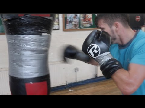 HIGHLY RATED JOHNNY COYLE SMASHES THE HEAVYBAG AFTER GRUELLING SPARRING SESSION